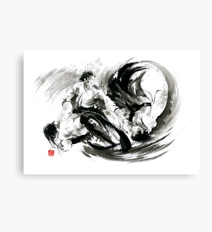 Aikido randori fight popular techniques martial arts sumi-e samurai ink painting artwork Canvas Print