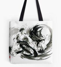 Aikido randori fight popular techniques martial arts sumi-e samurai ink painting artwork Tote Bag