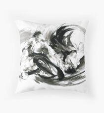 Aikido randori fight popular techniques martial arts sumi-e samurai ink painting artwork Throw Pillow