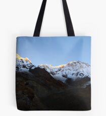 Pre dawn glow on Annapurna South. Tote Bag