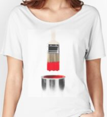 Brush Dipped in Red Paint T-shirt design Women's Relaxed Fit T-Shirt