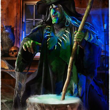 Scary Old Witch with a Cauldron T-shirt design by ArtNudePhotos