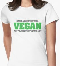 Don't ask me why I'm a vegan, ask yourself why you're not Women's Fitted T-Shirt
