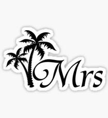 Mrs Tropical Palm Tree Wedding Design Sticker