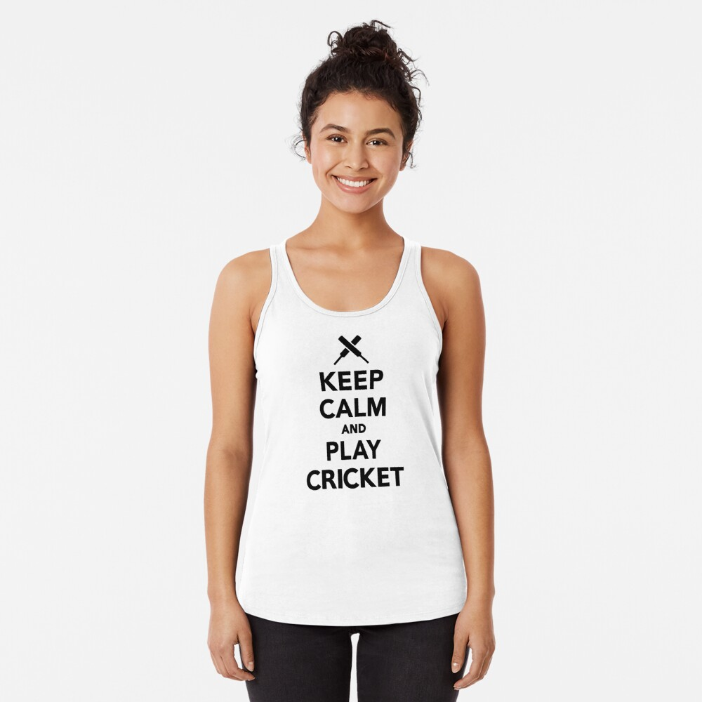 Keep calm and play Cricket Racerback Tank Top