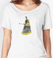 Vintage Look Half Tone Doctor Who Dalek Graphic Women's Relaxed Fit T-Shirt