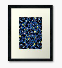 Superhero Silhouette Pattern Framed Print