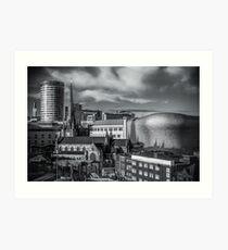Birmingham Cityscape Skyline, UK in Monochrome Art Print