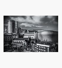 Birmingham Cityscape Skyline, UK in Monochrome Photographic Print