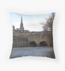 Along the Water in Bath Throw Pillow