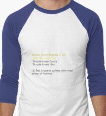 Simple Linen Shirt (set item) Men's Baseball ¾ T-Shirt