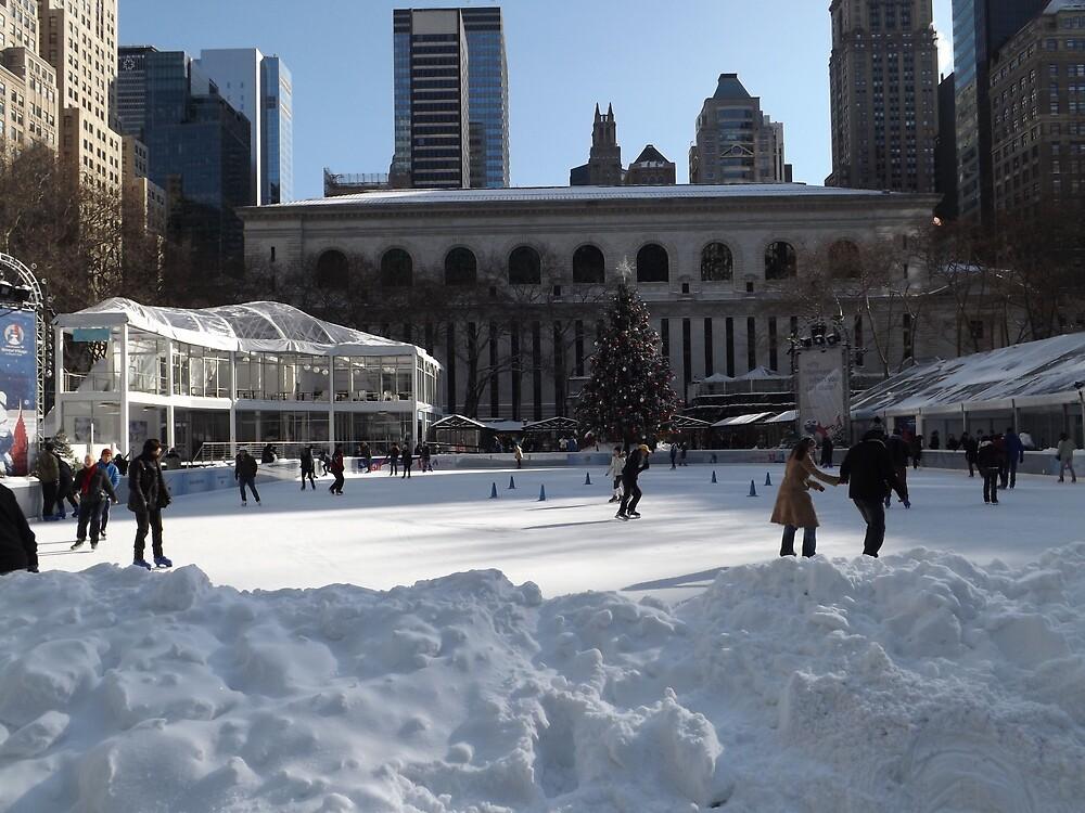 Bryant Park Skating Rink After A Snowfall, Bryant Park, New York City by lenspiro