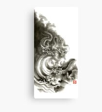 Two dragons gold fantasy dragon design sumi-e ink painting dragon art Canvas Print