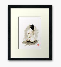 Woman geisha erotic act 女性 Japanese ink painting Framed Print