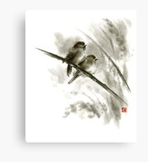 Sparrows wall art redbubble sparrows sumi e bird birds on branches original ink painting artwork canvas print thecheapjerseys Image collections