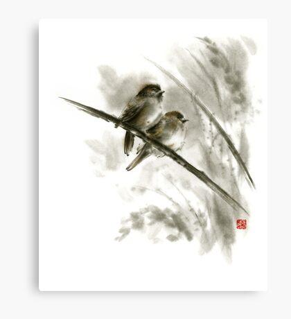 Sparrows sumi-e bird birds on branches original ink painting artwork Canvas Print