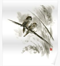 Sparrows sumi-e bird birds on branches original ink painting artwork Poster