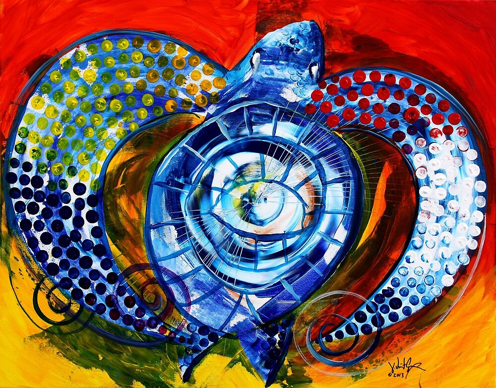 """Abstract SEA TURTLE !!  Beautiful, """"Sun Turtle / Sun Love"""" Original from J. Vincent, MUST SEE, Sharp! by 17easels"""