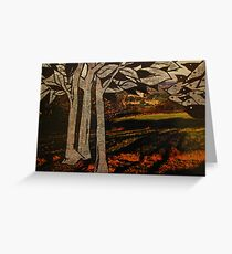 paper trees & pod birds  Greeting Card