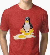 LINUX TUX PENGUIN TWINS SUNNYSIDE UP  Tri-blend T-Shirt