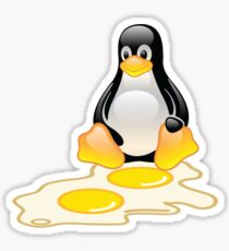 LINUX TUX PENGUIN TWINS SUNNYSIDE UP  Sticker