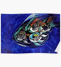 Four Makes Five (School of Family), Abstract FISH ART, J. Vincent, COOL FISH ART Poster