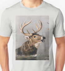 Stag wading through Water painting Unisex T-Shirt