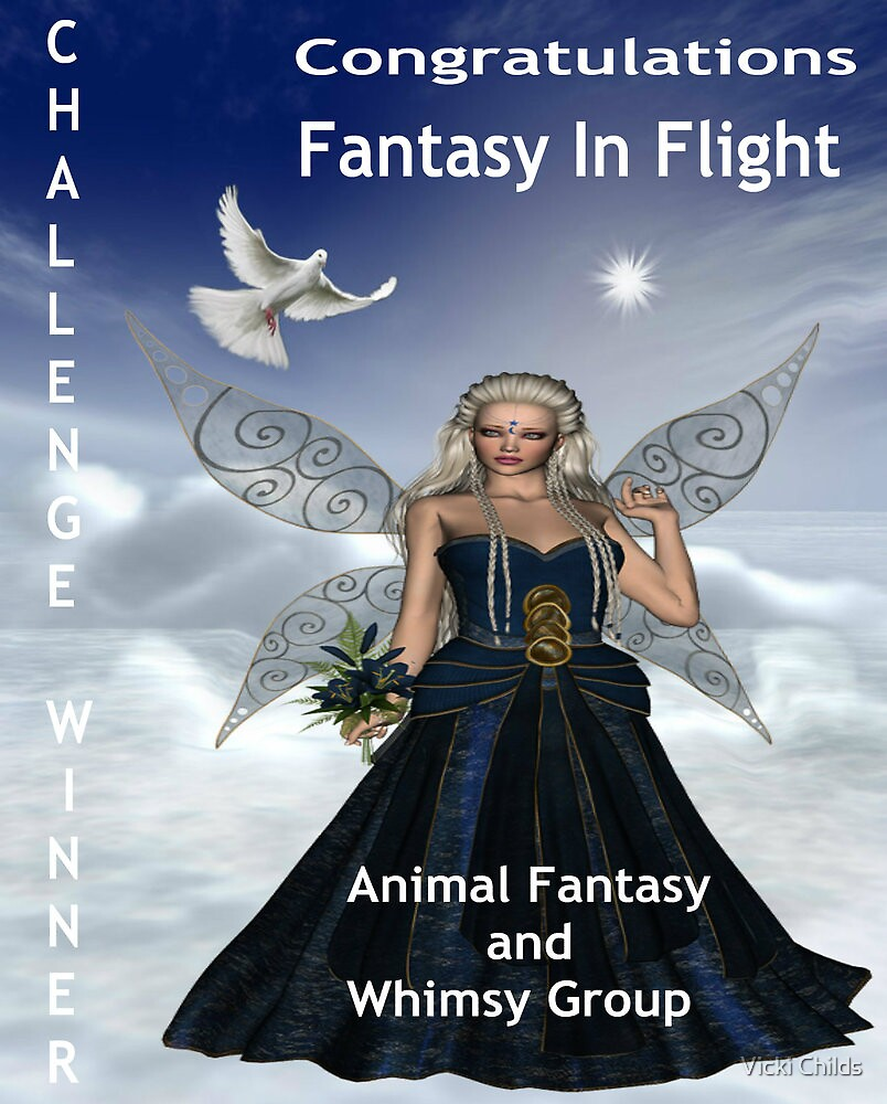 Challenge Winner Banner.  Fantasy in Flight.  Animal Fantasy and Whimsy Group by Vicki Childs
