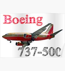 Southwest Airlines Boeing 737-500 w text Poster