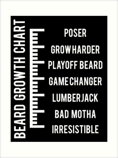 Beard Growth Chart Art Prints By Geekingoutfitte Redbubble