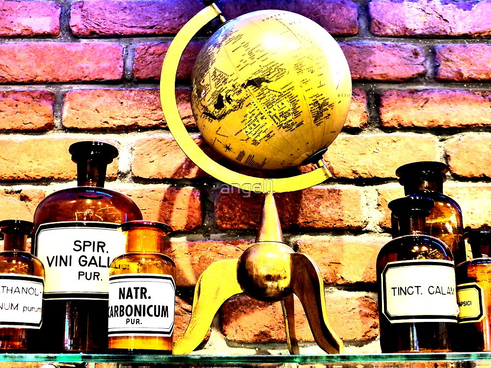 Old pharmacy bottles & globe by ©The Creative  Minds