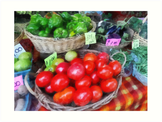 Tomatoes, String Beans and Peppers at Farmer's Market by Susan Savad