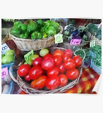 Tomatoes, String Beans and Peppers at Farmer's Market Poster
