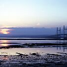 Sunset over Severn Beach and the Severn Crossing by Jonathan Gazeley