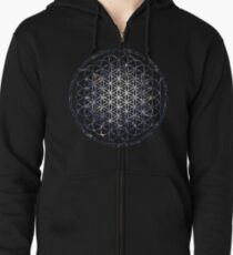Flower Of Life - Sacred Geometry Star Cluster Zipped Hoodie