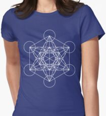 Metatron's Cube - Sacred Geometry White Ink Women's Fitted T-Shirt