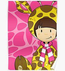 Cute Cartoon Giraffe Girl Poster