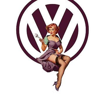 Volkswagen Pin-Up Wrenching Wanda (dark purple) by sarahrulon