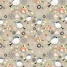 floral pattern with birds by Tanor
