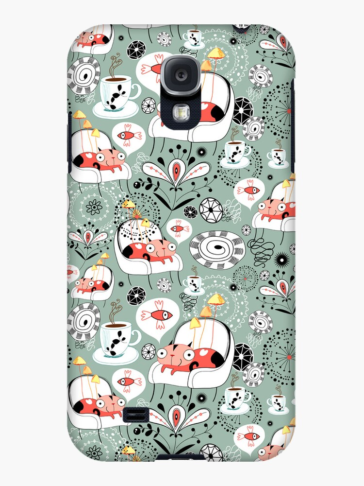pattern with cats and mushrooms by Tanor