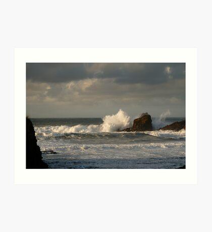 Crashing Waves at Trevone Bay Art Print