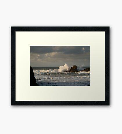 Crashing Waves at Trevone Bay Framed Print