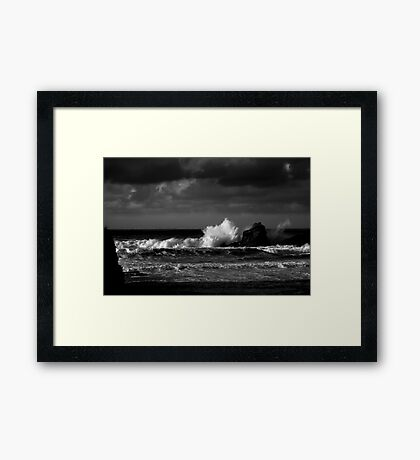 Crashing Waves at Trevone Bay in Black and White Framed Print
