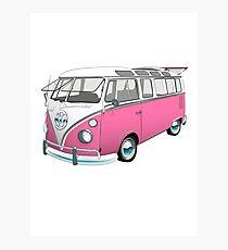 21 Window Volkswagen Bus... but PINK! Photographic Print