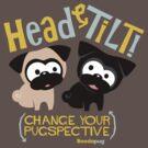 Pug Head Tilt (gold & blue) by boodapug