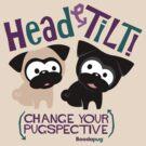 Pug Head Tilt (Blue and Purple) by boodapug