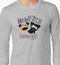 Pug Head Tilt (Blue and Purple) Long Sleeve T-Shirt