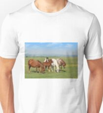 horses and foal in pasture T-Shirt
