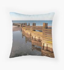 Norfolk groyne Throw Pillow
