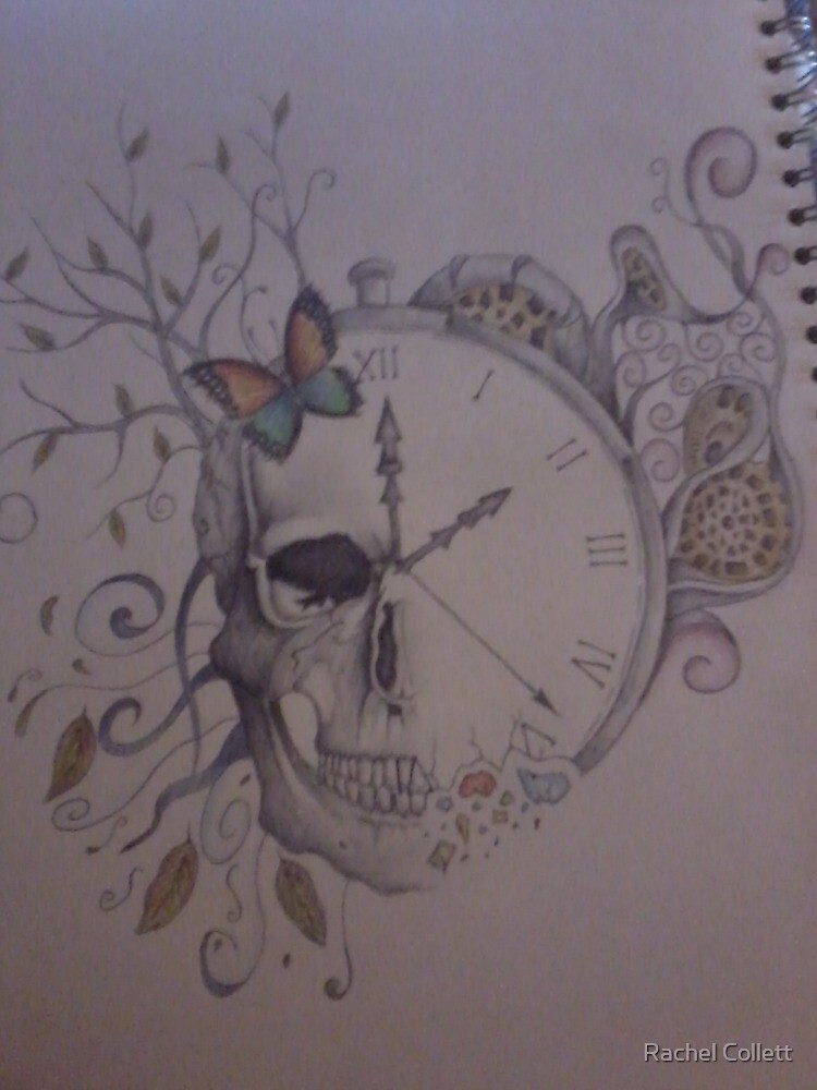 Quot Skull Clock Etc Tattoo Design Quot By Rachel Collett Redbubble